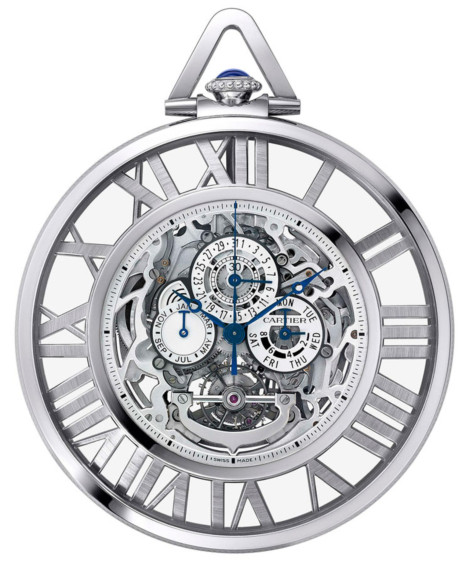 cartier. Grand Complication Skeleton pocket watch, calibre 9436 MC, 18-carat white gold. POA