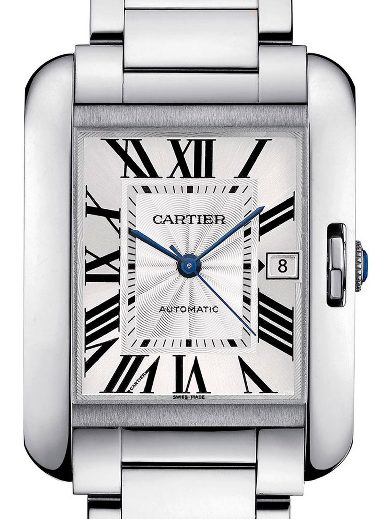 Cartier. Tank Anglaise watch, Large model, 18-carat rhodium-plated white gold. Price from £46,500
