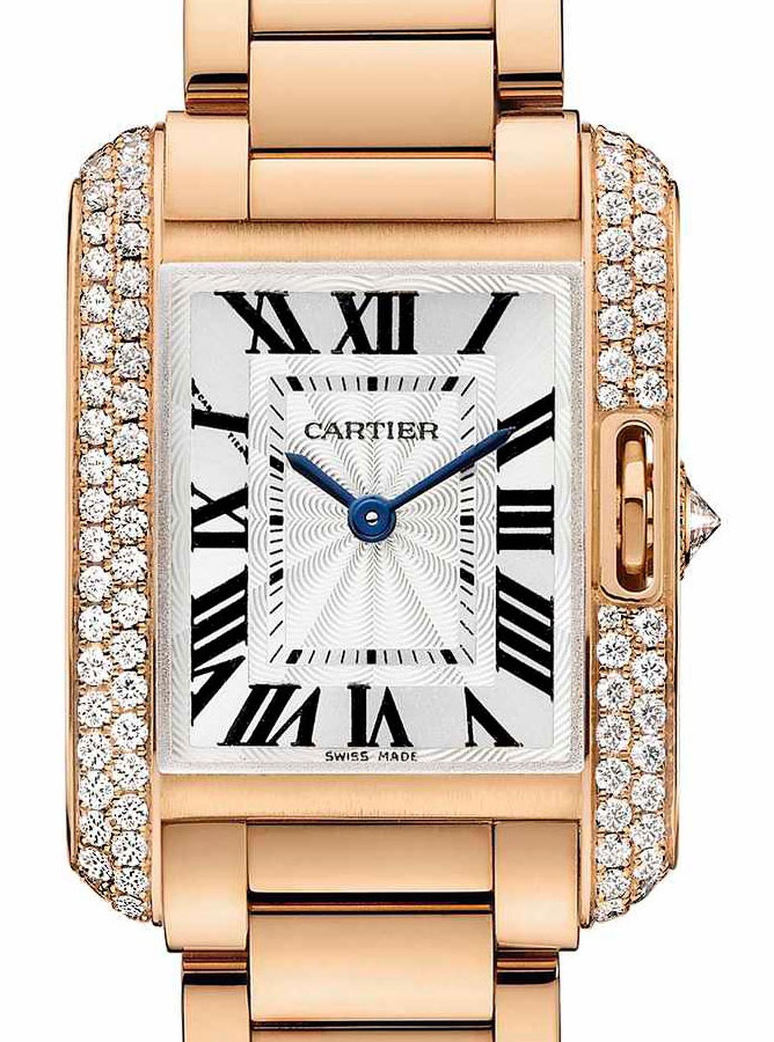 Cartier. Tank Anglaise watch, Small model, 18-carat pink gold with 0.8 carats diamonds. Price from £65,500