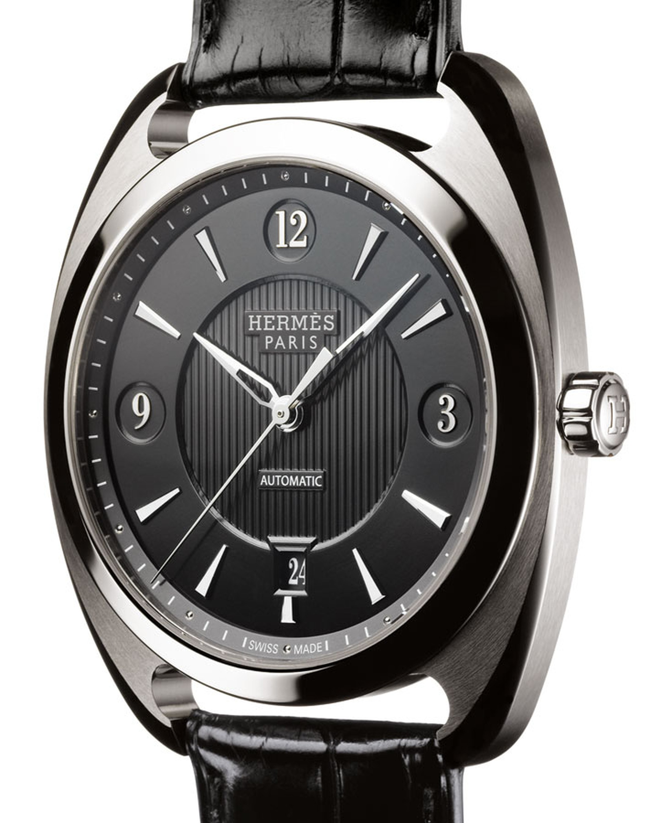 Hermes. Dressage Simple Calendar. Silver, steel and black alligator strap. Price from  £7,050