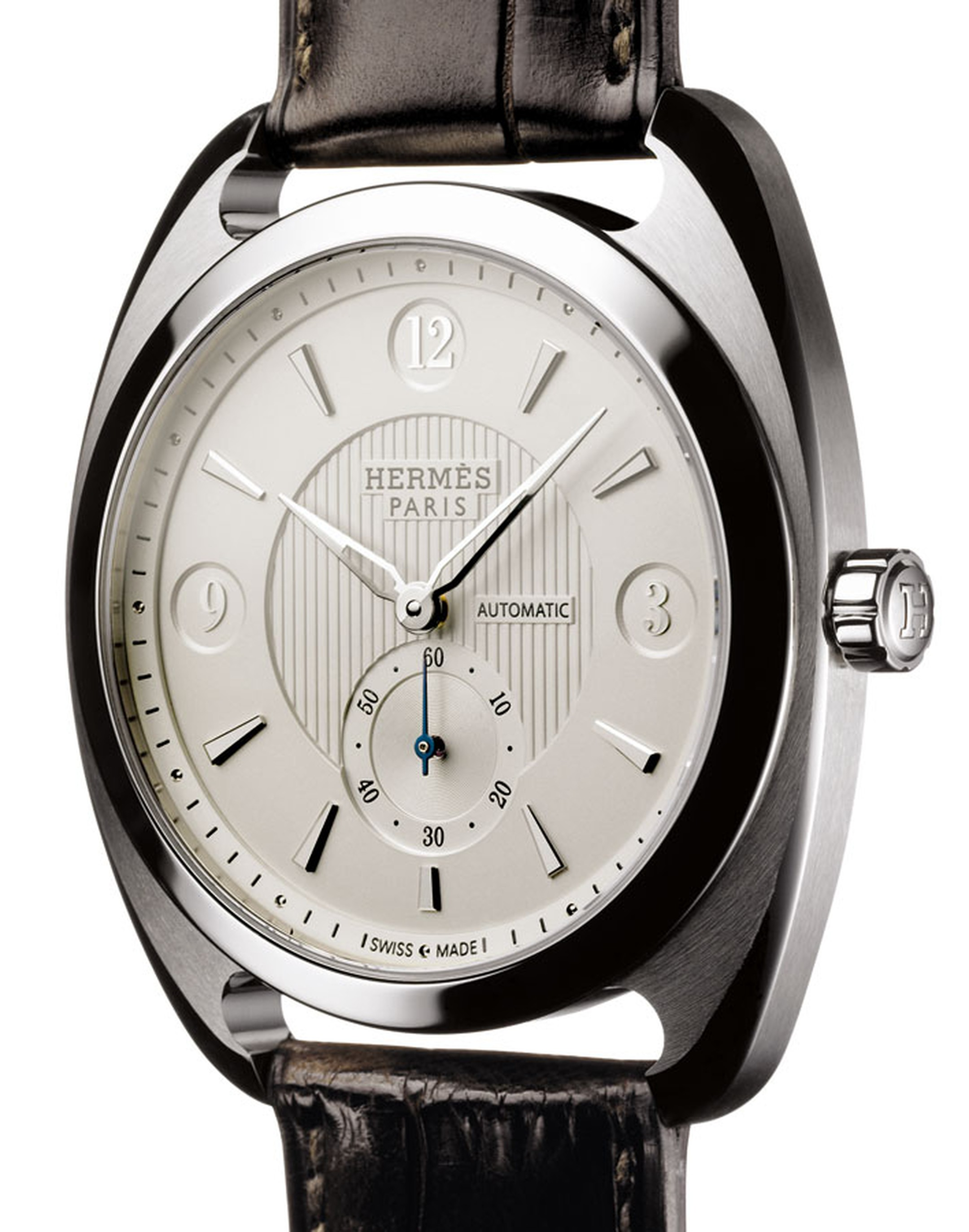 Hermes. Dressage Small Second Watch in silver, steel and black alligator strap. Price from £7,050