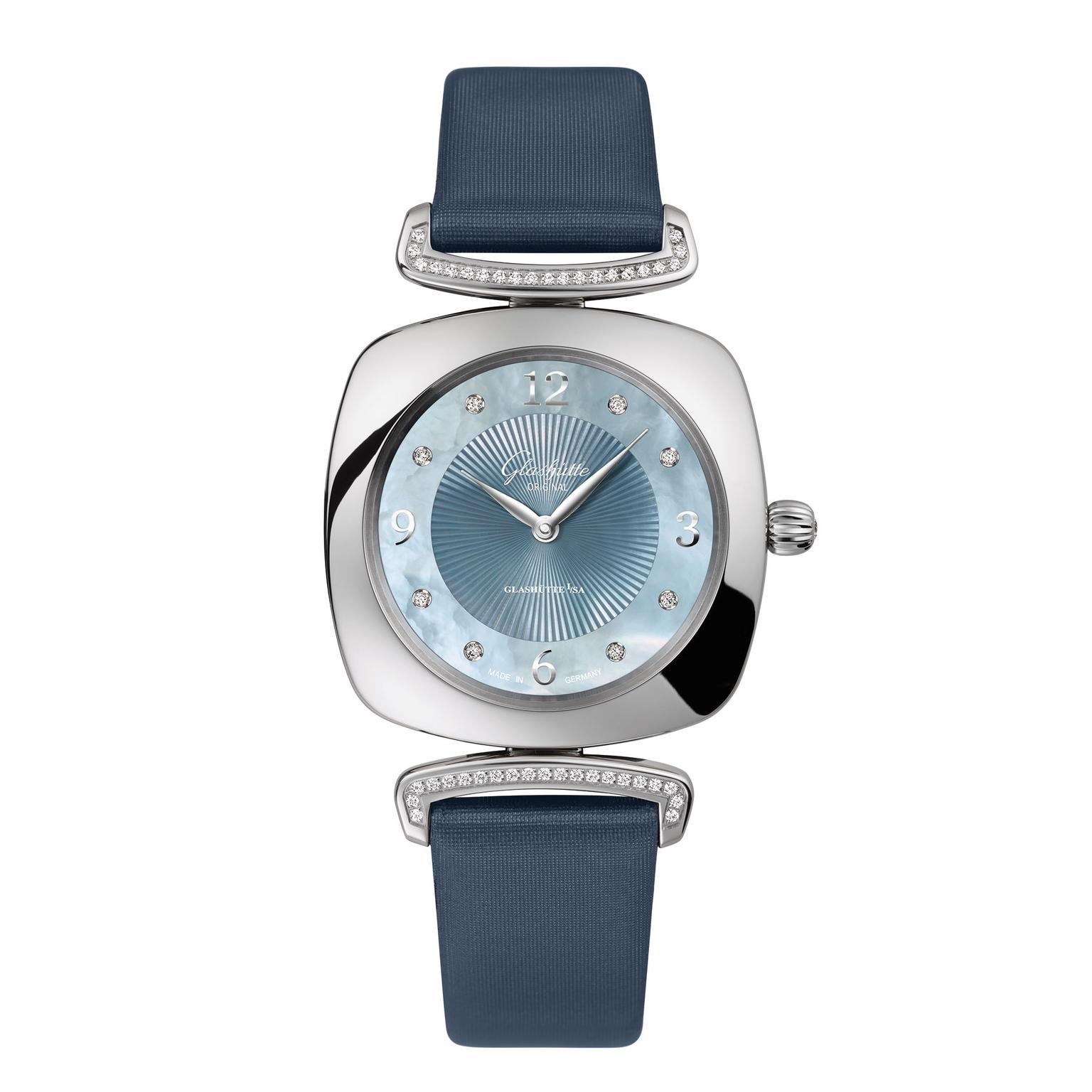 Glashutte Pavonina stainless steel with diamonds MOP dial and navy blue strap_zoom