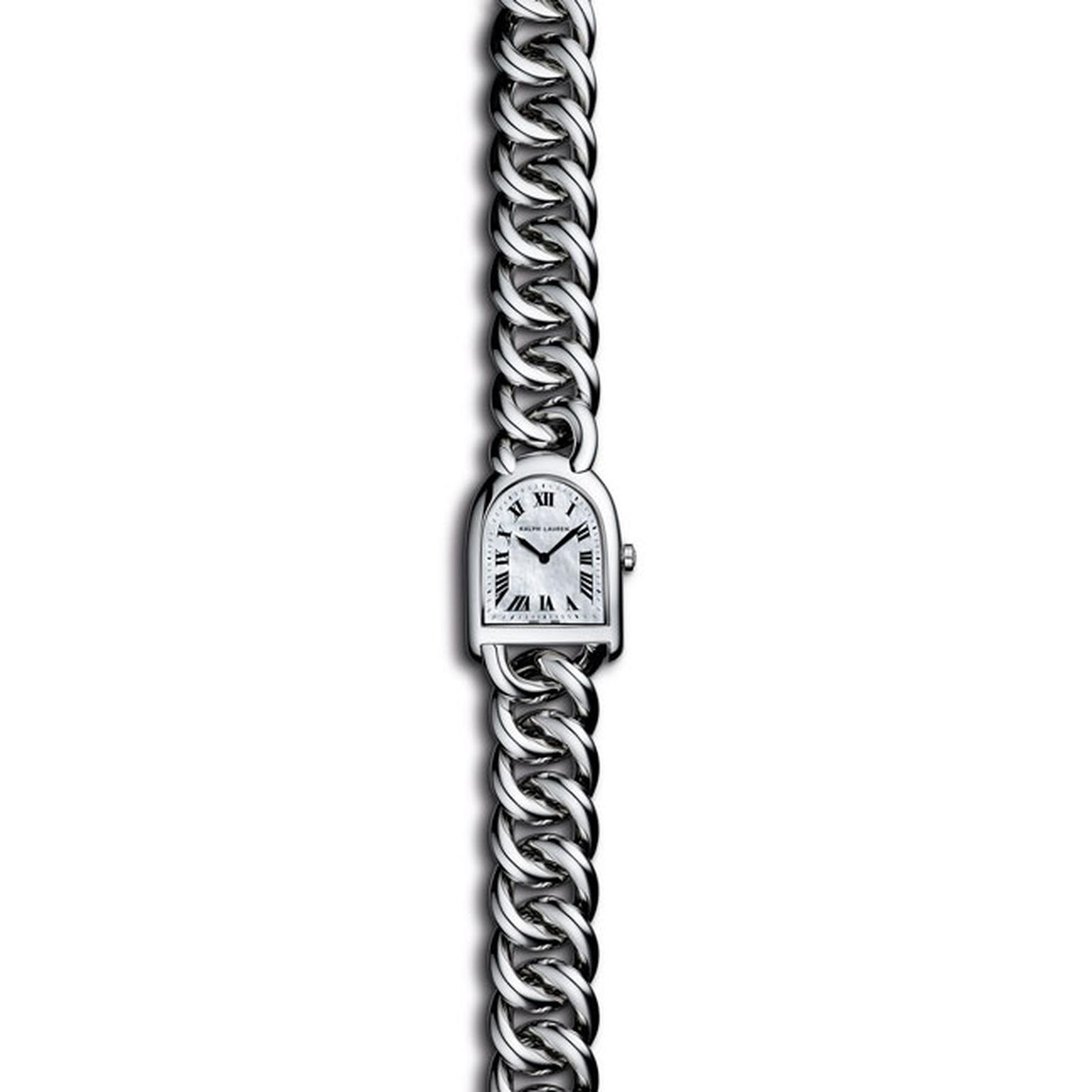 Ralph Lauren Stirrup Steel link collection with MOP dial_main