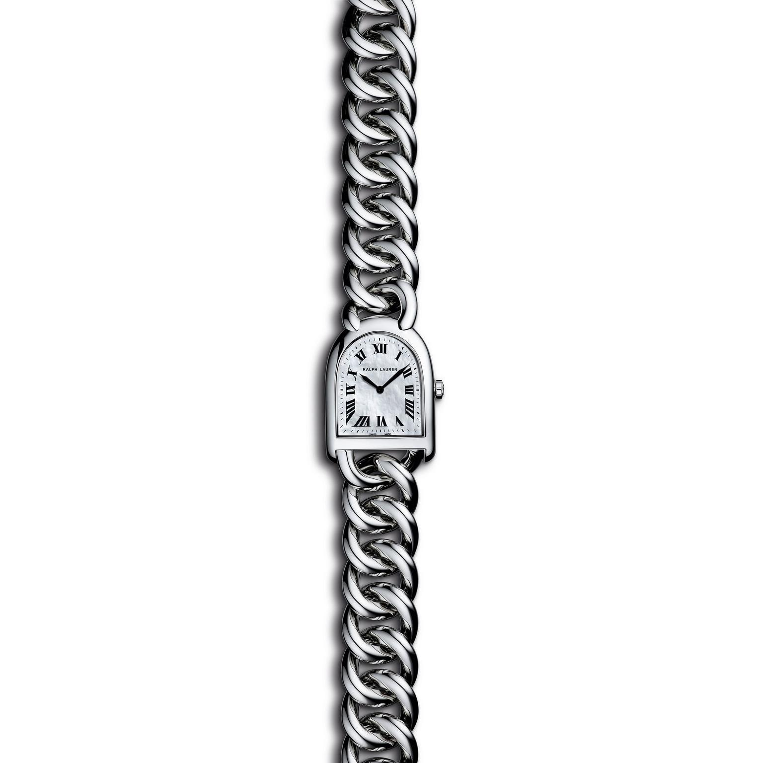 Ralph Lauren Stirrup Steel link collection with MOP dial_zoom