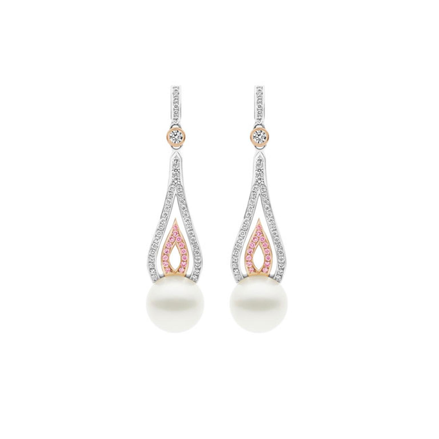 Kailis flame earrings with pearls and white and pink pavé diamonds_main