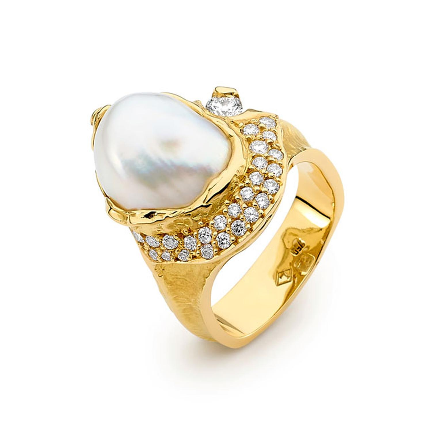 Linneys 18ct yellow gold Australian South Sea seedless pearl and diamond ring_main