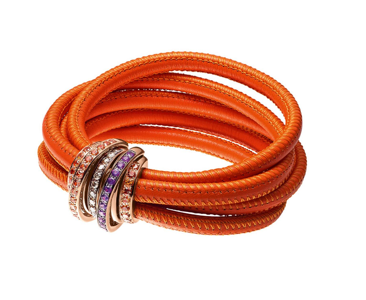 The 'Allegra' bracelet in bright orange, perfect for the summer.
