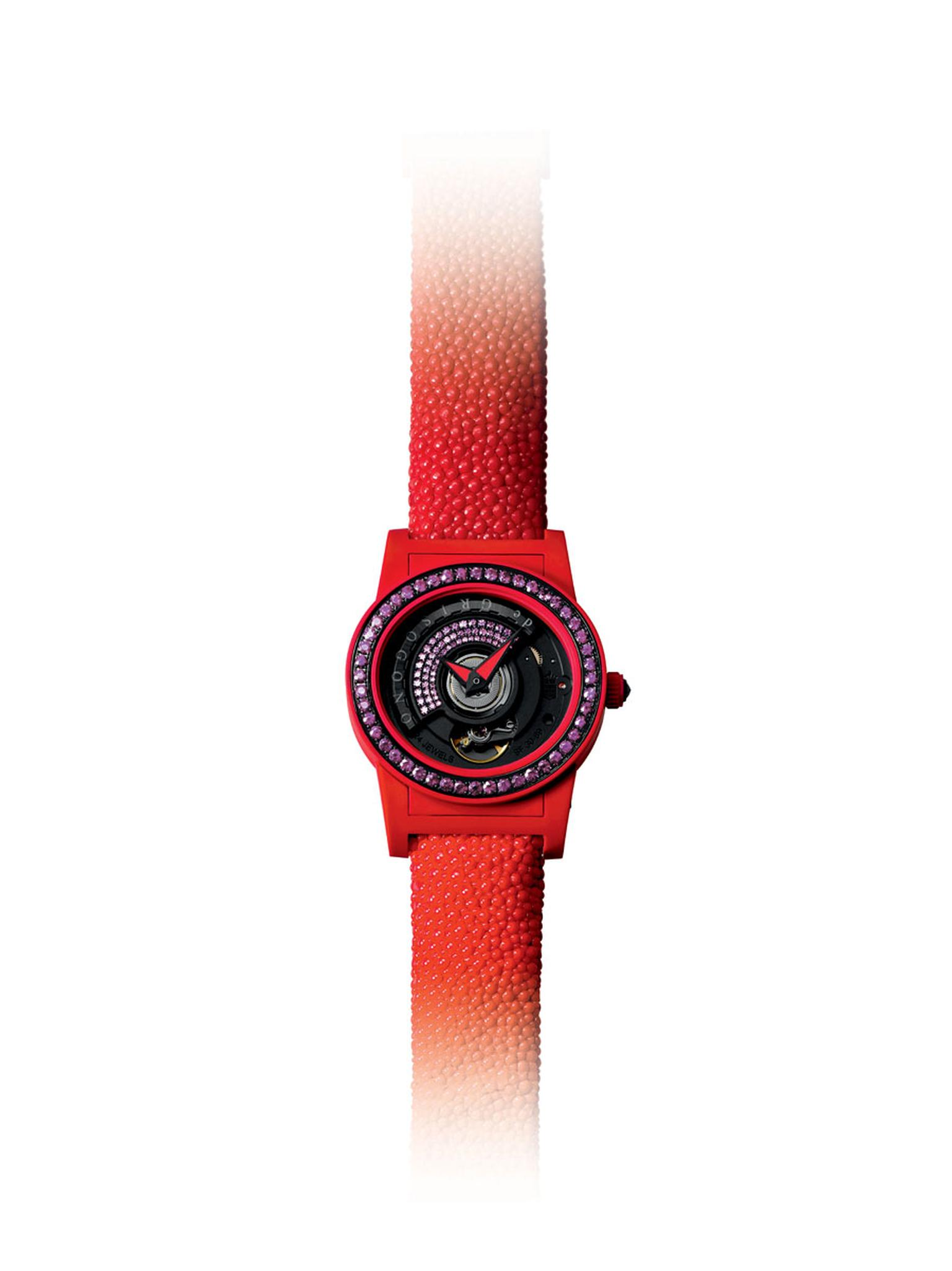 de GRISOGONO's 'Tondo by Night' watch in warm, glowing red.