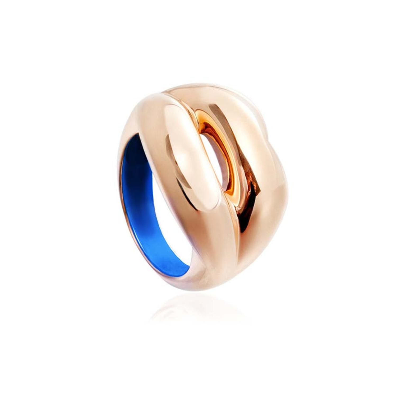 Paddle 8_Solange Azagury -partridge _Hotlips C 2015 18ct Yellow Gold And Lacquer Ring _£1000 To £1500