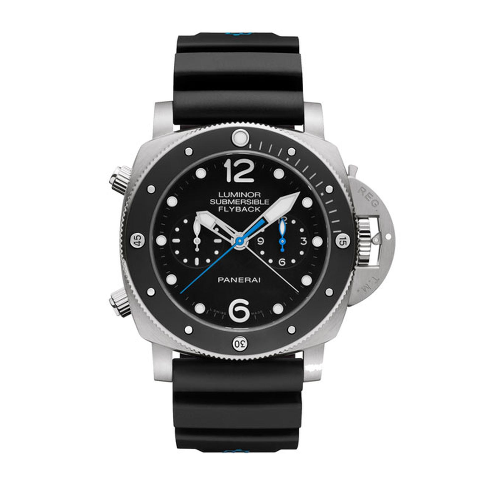 Panerai Luminor Submersible 1950 Flyback Chrono watch in titanium with a ceramic bezel