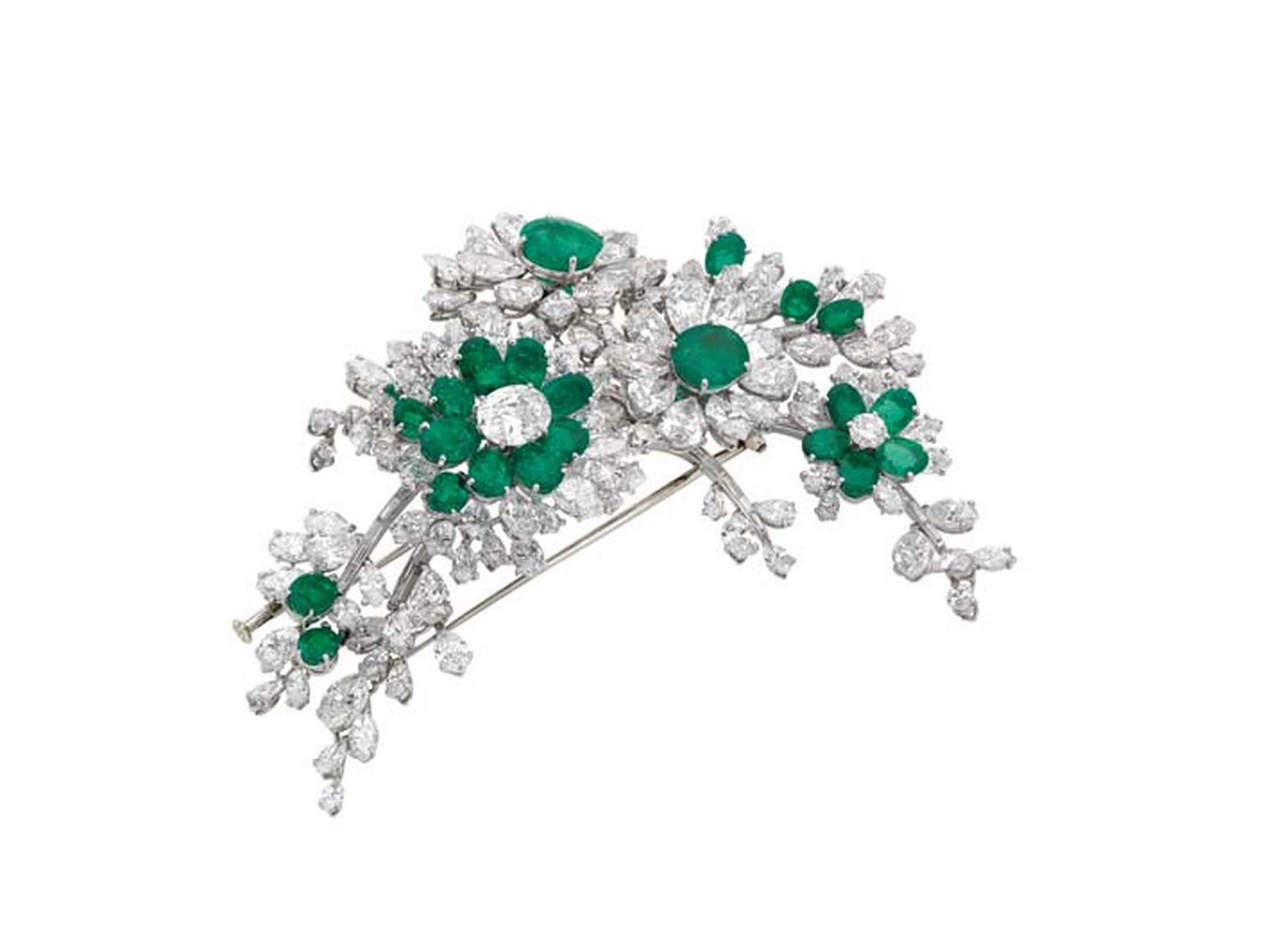 Elizabeth Taylor's Bulgari 'en tremblant' brooch in platinum, emeralds and diamonds from 1960.