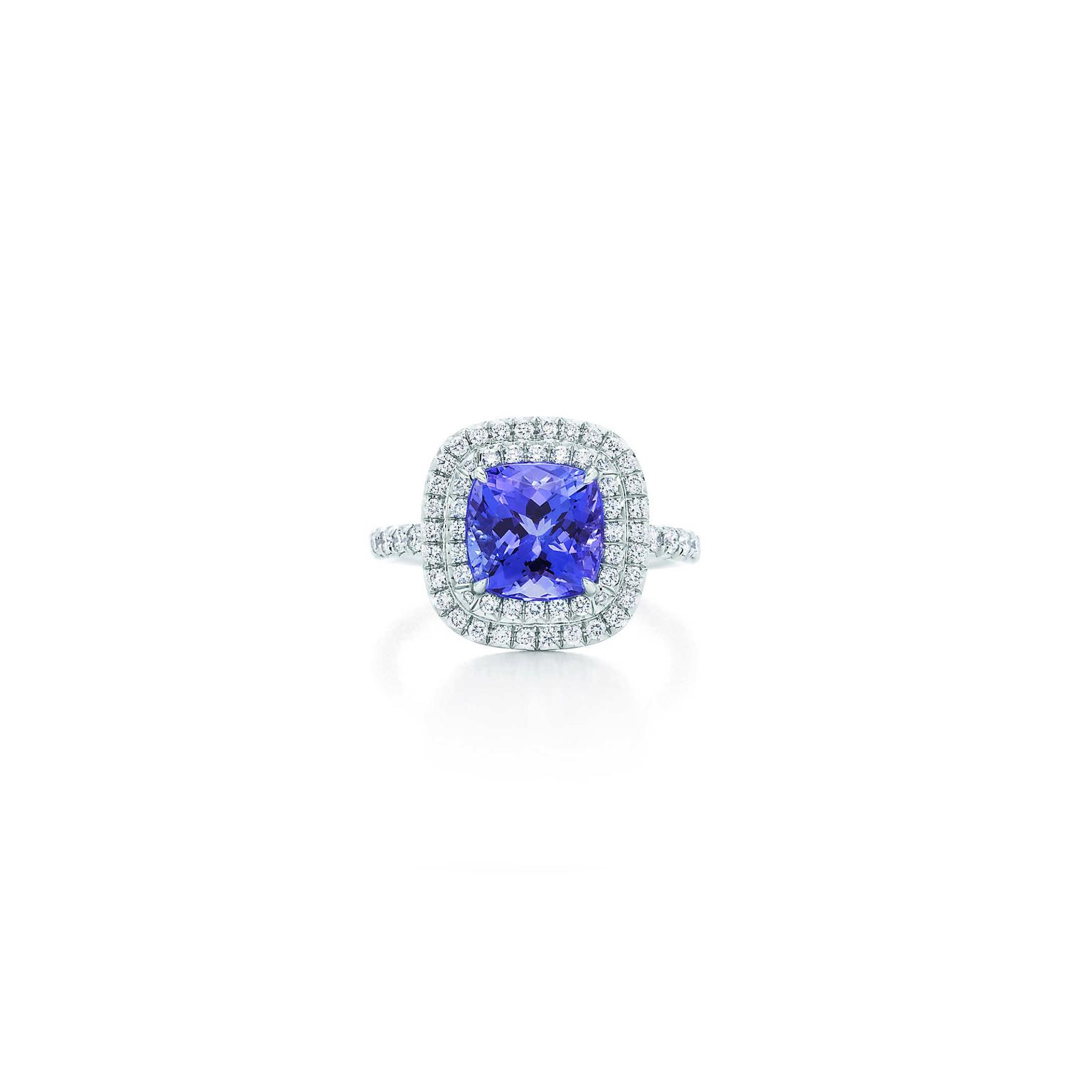 Soleste Cushion Cut Tanzanite Ring With Diamonds