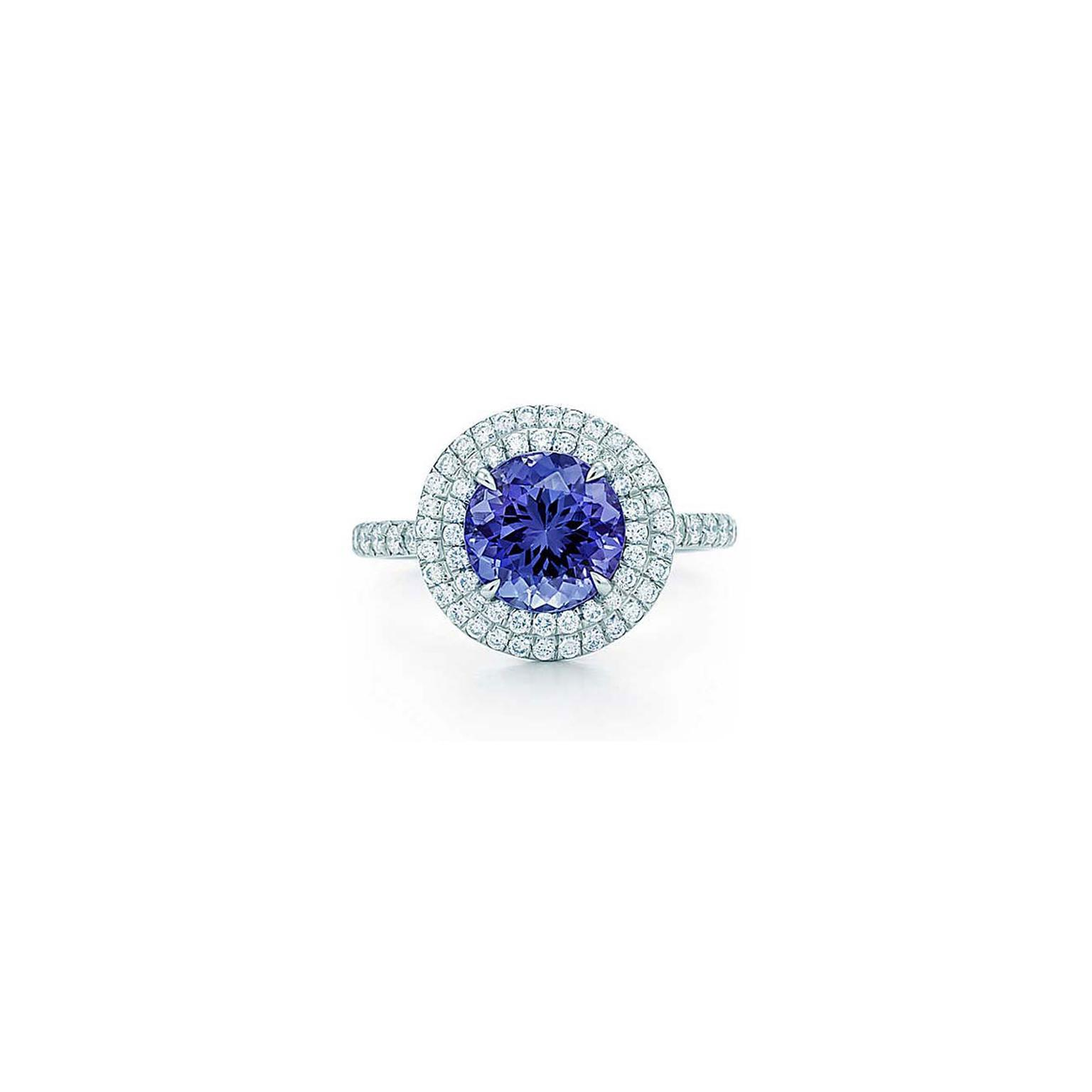 Tiffany Soleste round tanzanite and diamond ring_zoom