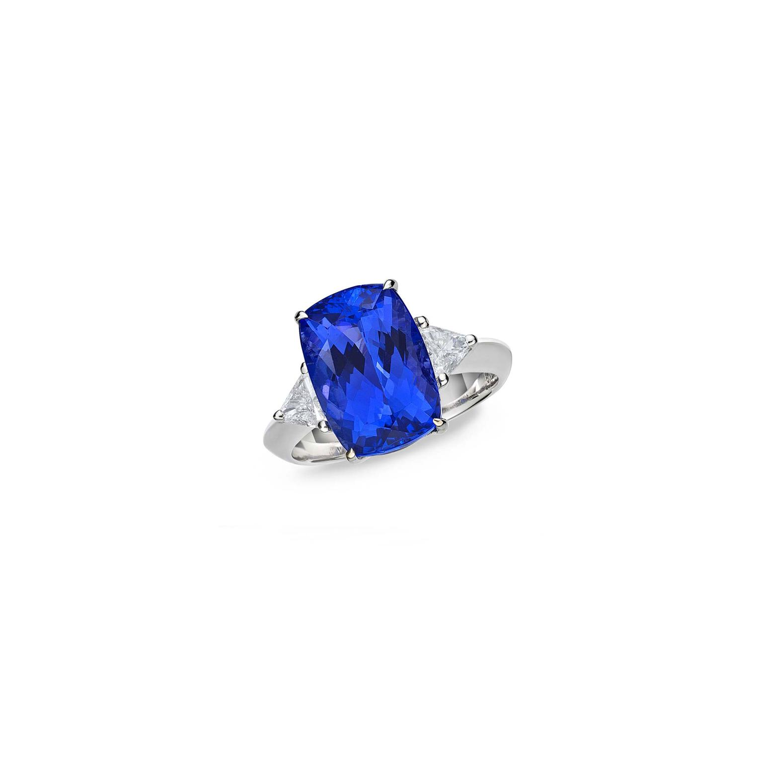 TanzaniteOne Caroline ring with cushion cut tanzanite ring_zoom