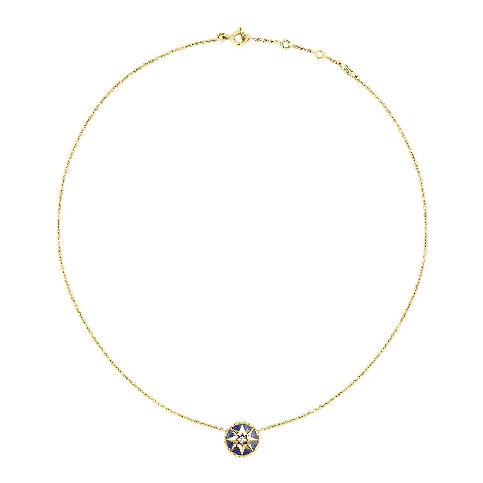 Dior Rose Des Vents yellow gold lapis lazuli and diamond necklace_zoom