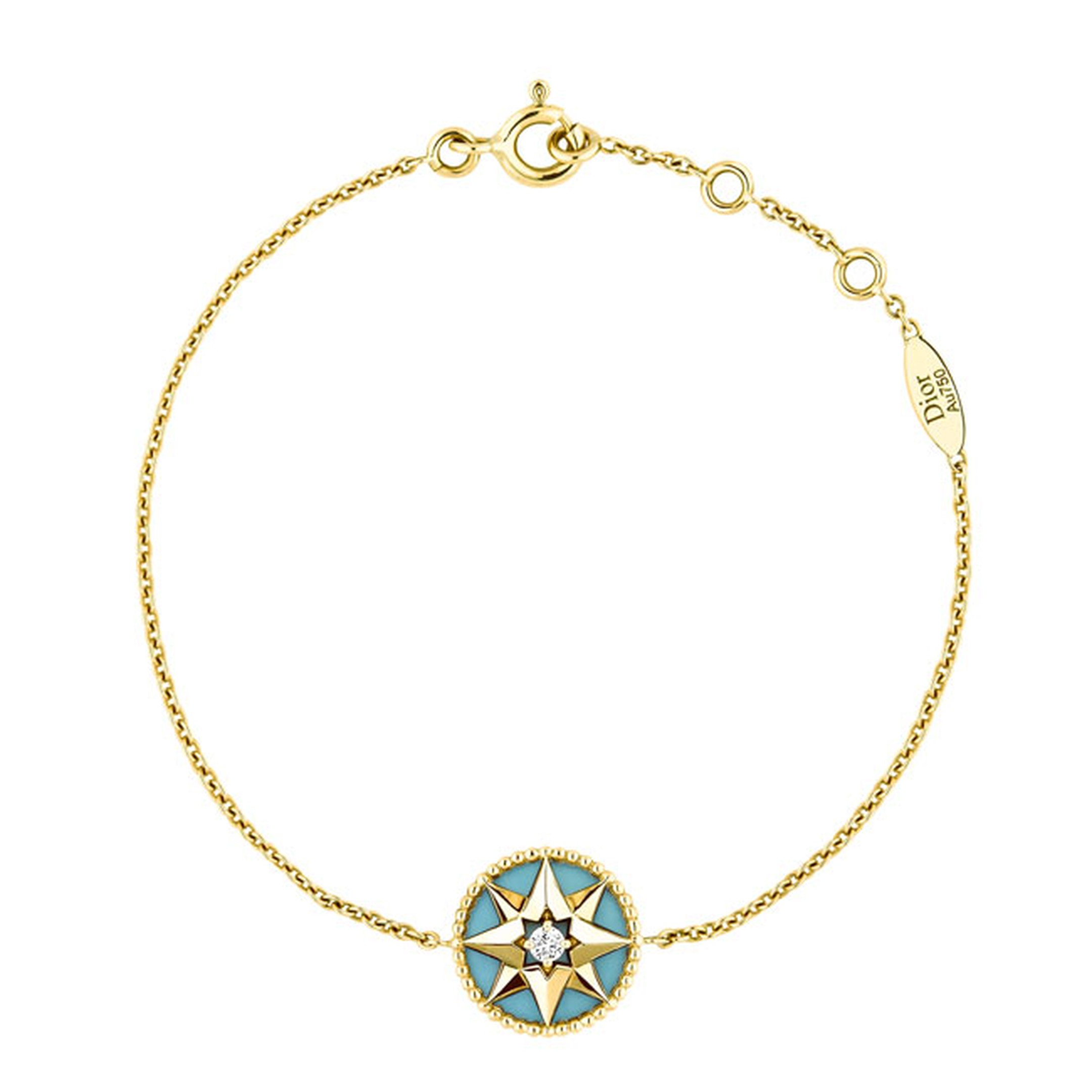 Dior Rose Des Vents yellow gold turquoise and diamond bracelet_main