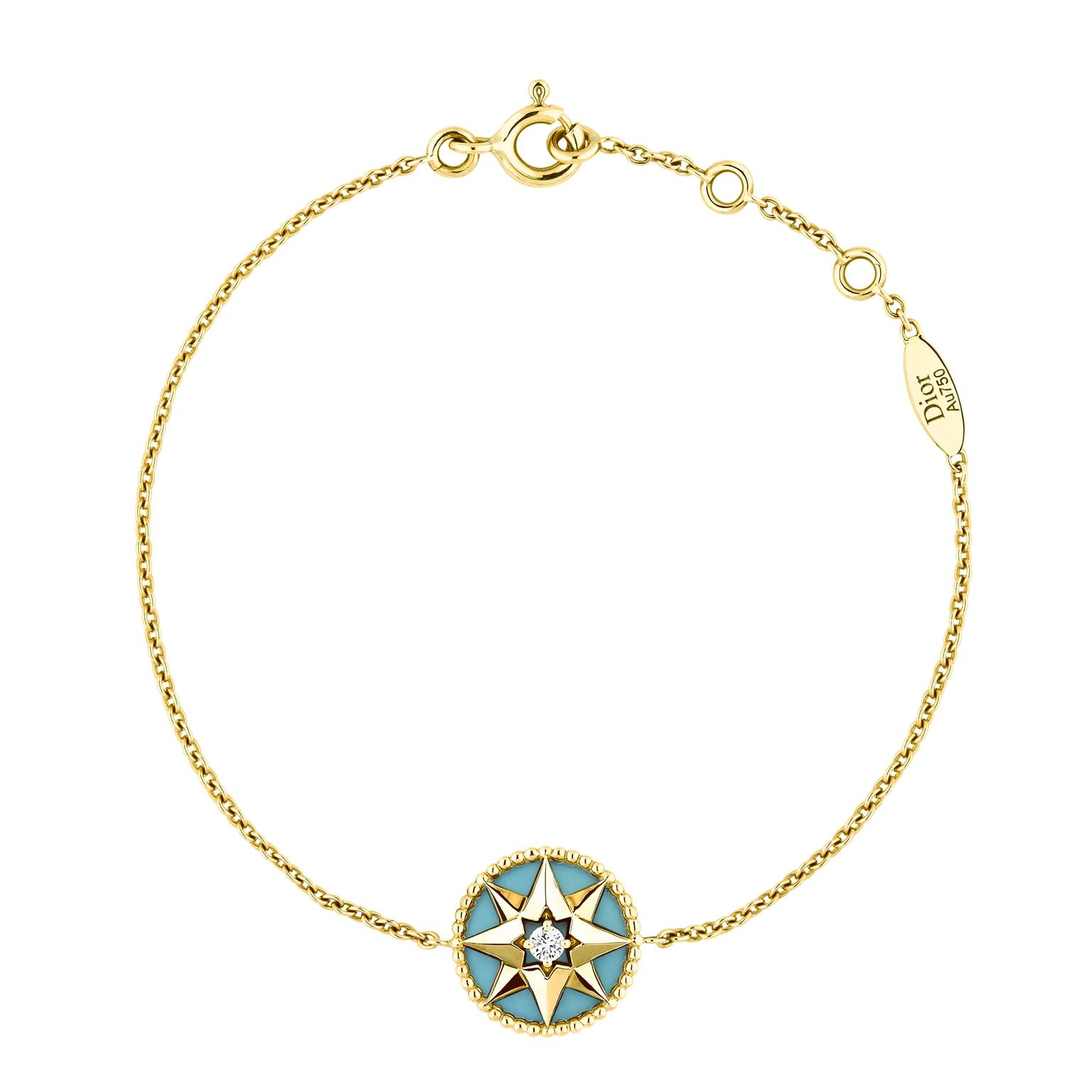 Dior Rose Des Vents yellow gold turquoise and diamond bracelet_zoom