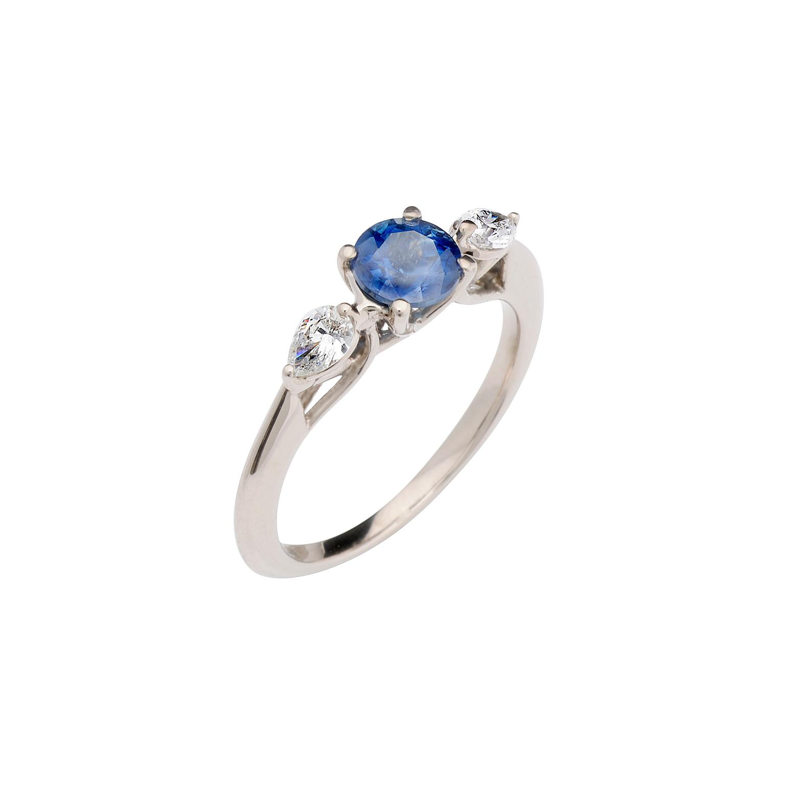 CRED sapphire with pear diamonds trilogy ring_zoom