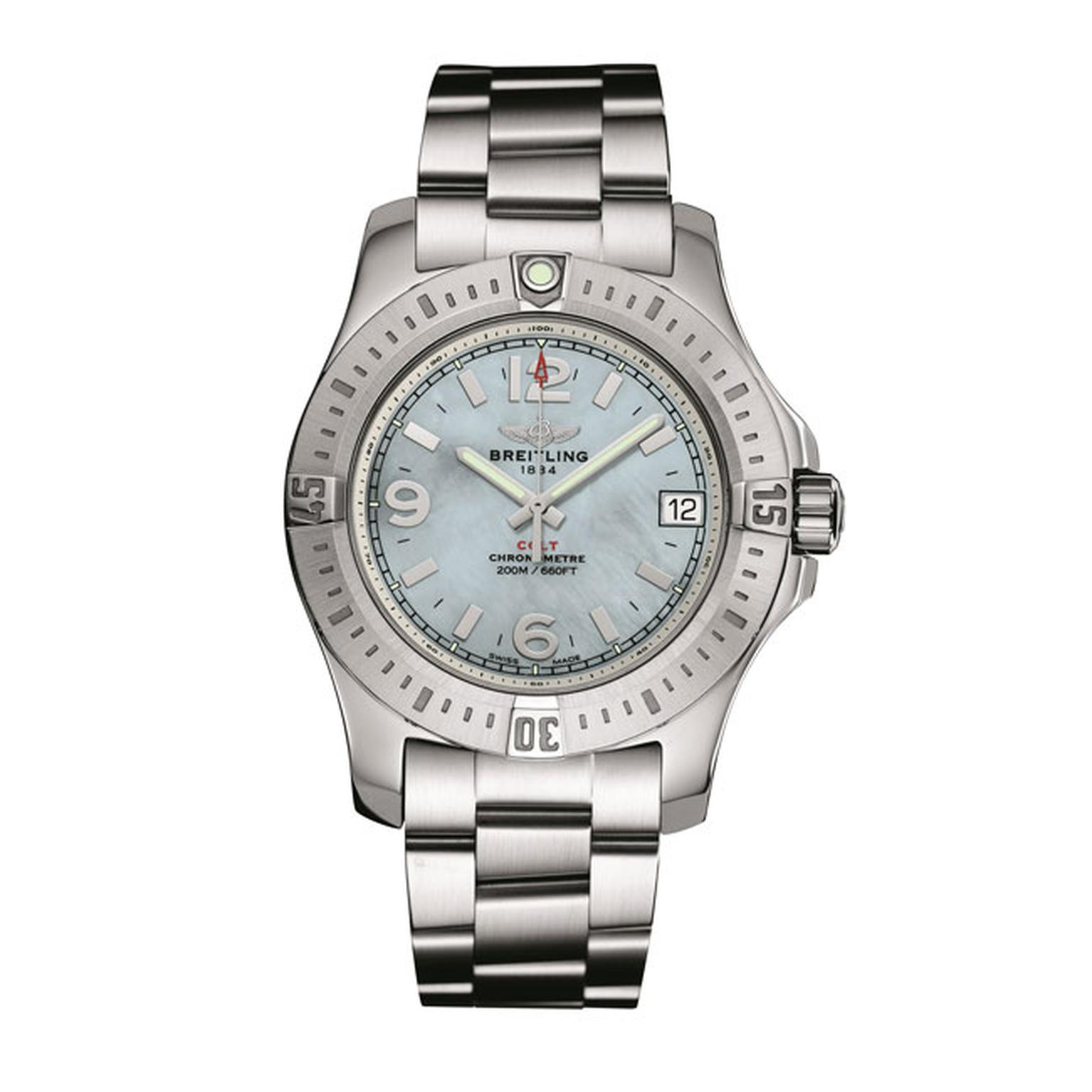 Breitling Colt 36 steel watch with mother of pearl dial_main