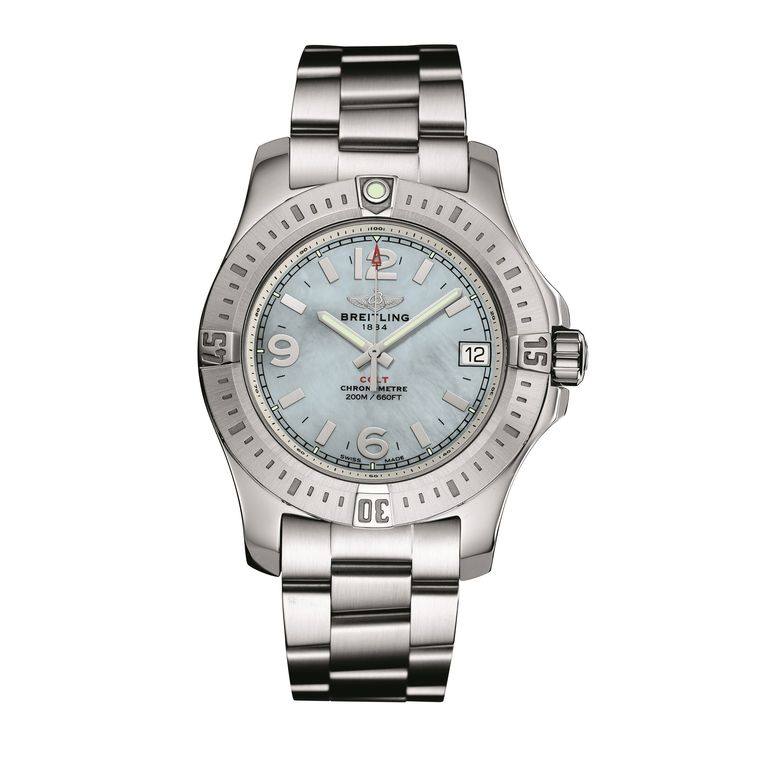 Breitling Colt 36 steel watch with mother of pearl dial_zoom