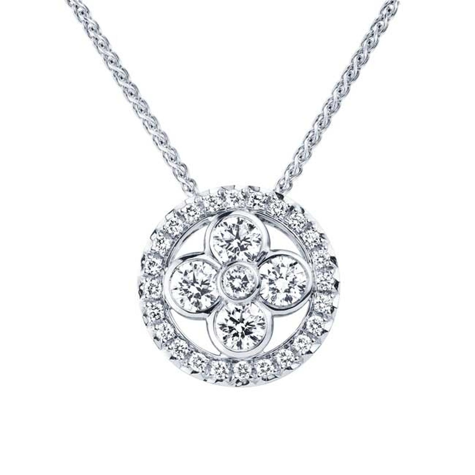 Louis Vuitton Monogram Sun and Stars collection Sun pendant necklace in white gold_main