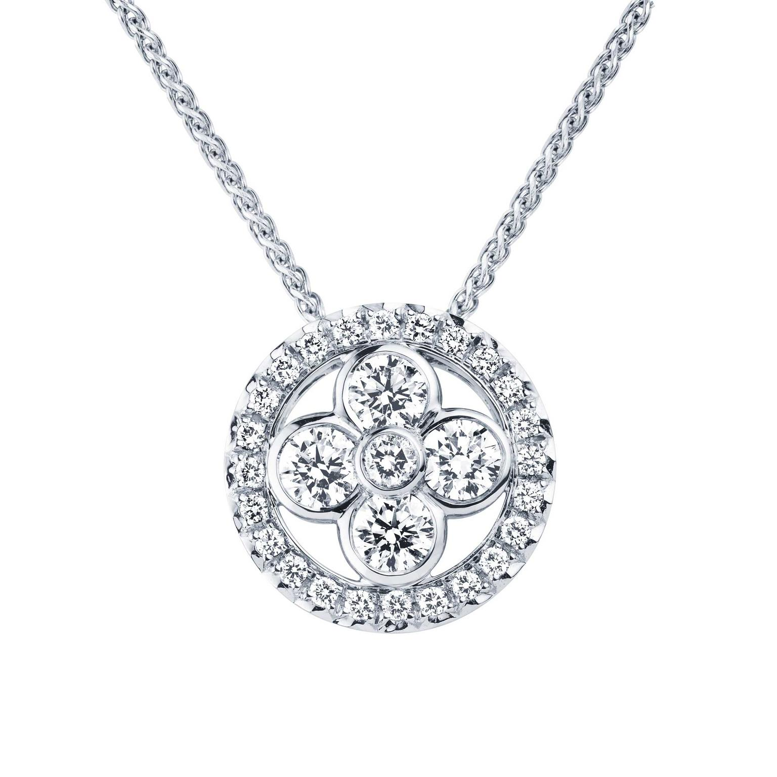 Louis Vuitton Monogram Sun and Stars collection Sun pendant necklace in white gold_zoom