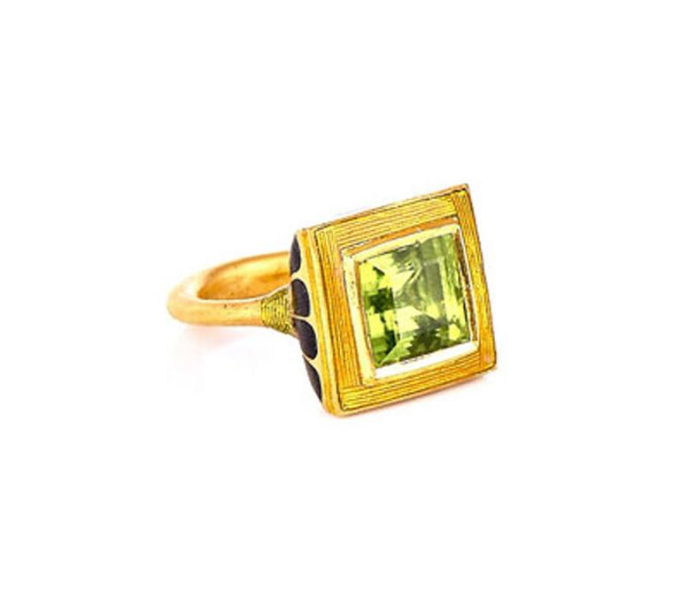 Alice Cicolini gold and peridot Kimono ring.