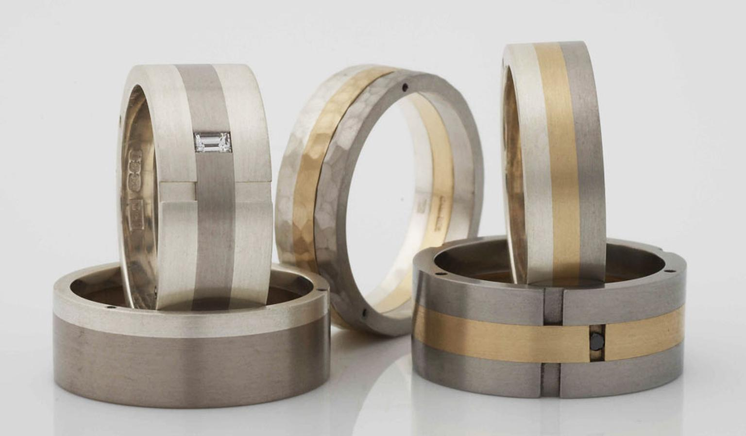 Iain Henderson palladium and gold rivetted rings