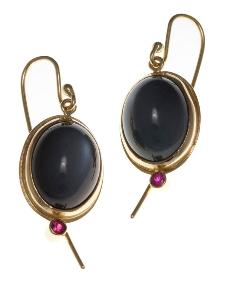 Kath Libbert. Graeme-McColm_earrings-in-18ct-gold-with-grey-moonstone-and-rubies-