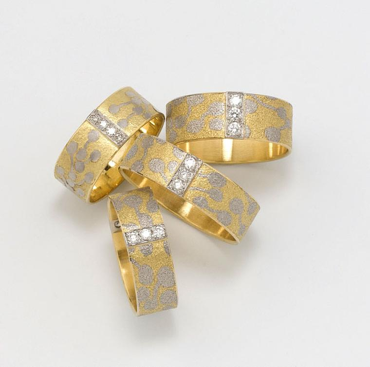 Kath Libbert. Jacqueline-Mina_Selection-of-Rings-18ct-Gold-with-Platinum-Fusion-inlay-and-Diamonds