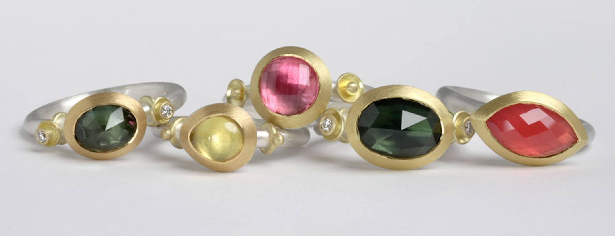 Kath Libbert. Mark-Nuell_Rings-with-Australian-sapphires,-spinels,-diamonds