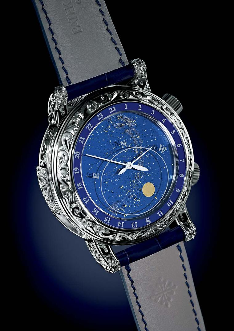The reverse face of the Patek Philippe Sky Moon Tourbillon 6002