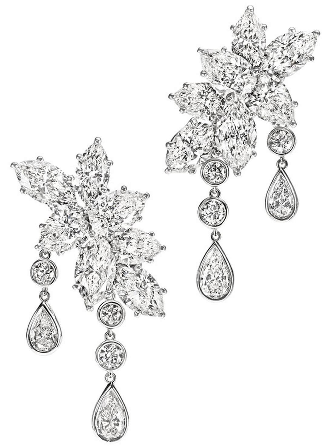 Harry Winston Caftan Winston Cluster Diamond Drop Earrings