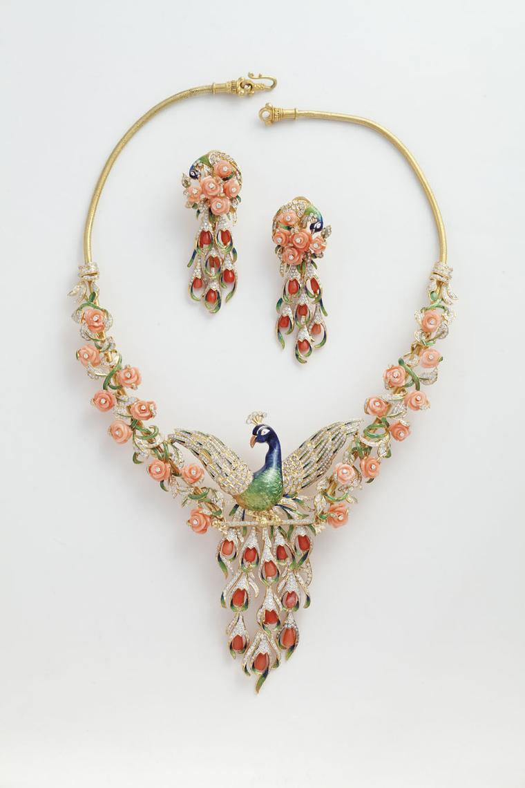 Jewels Emporium Peacock necklace in enamel