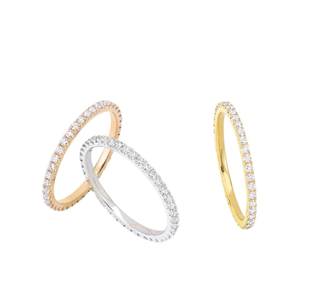 Chaumet Bee My Love stacking rings in white, yellow and pink gold with pavé diamonds.