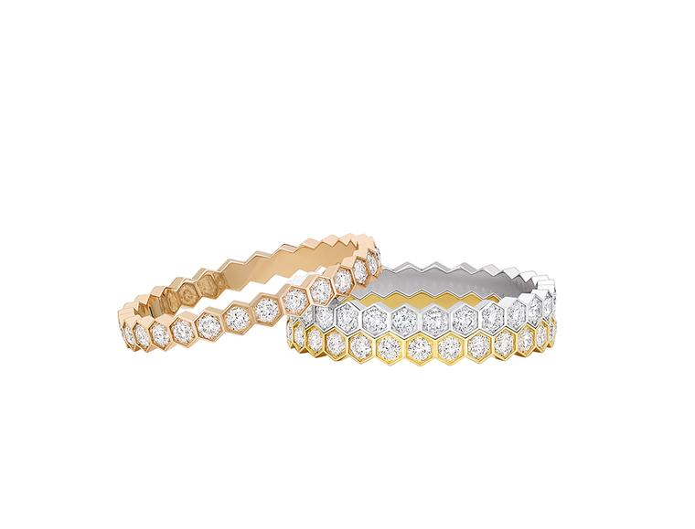 Chaumet Bee My Love stacking rings in pink gold, yellow gold and white gold, with pavé diamonds.