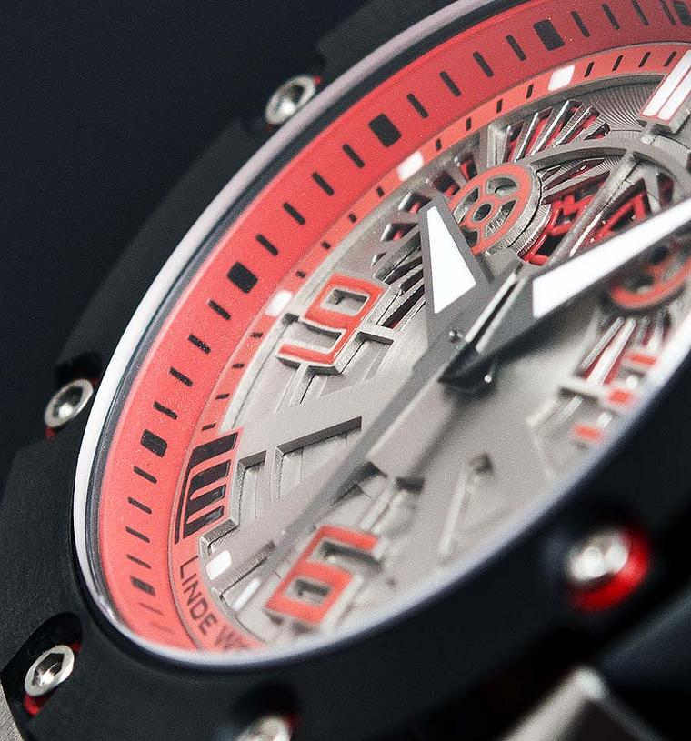 The new Linde Werdelin Oktopus II Double Date Titanium Red