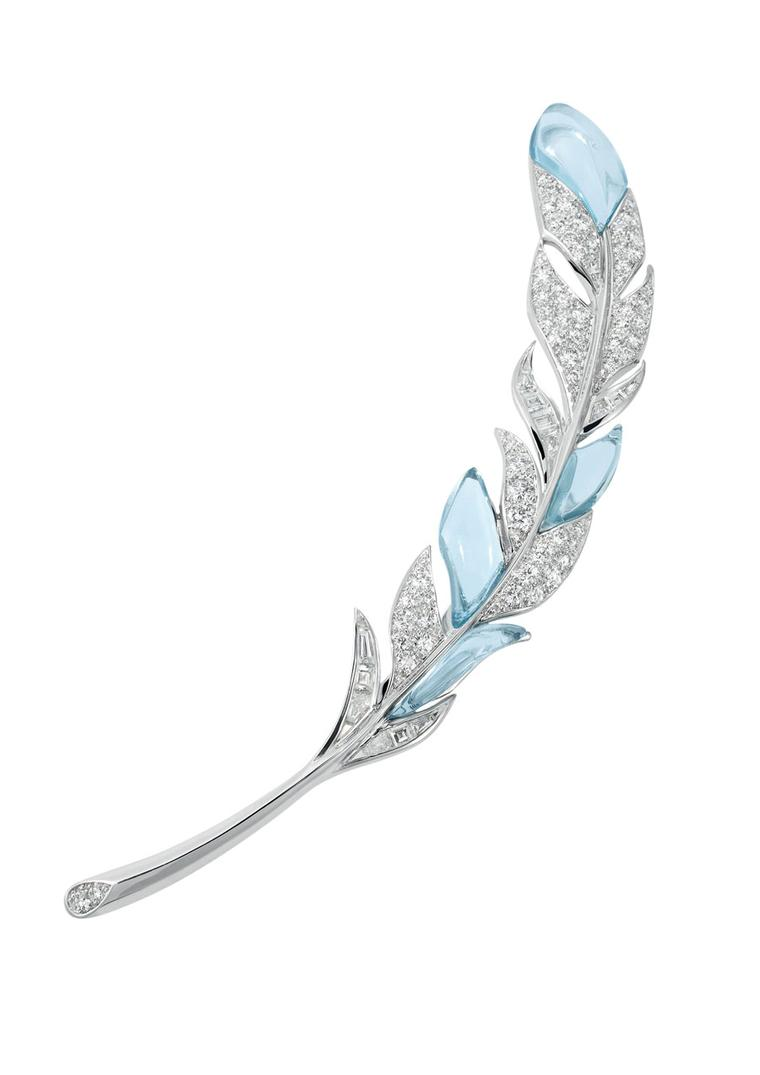 Boucheron Hotel de la Lumière Paon de Lune brooch in white gold, with white diamonds and aquamarine set on a meteorite and diamond base.