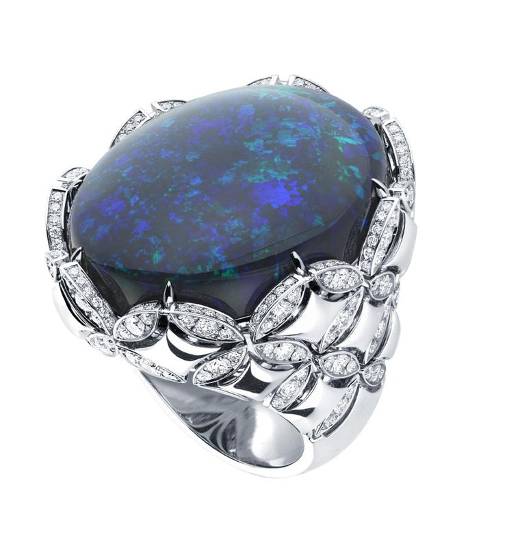 Louis Vuitton's Voyage dans le Temps Galaxie Monogram ring in white gold with an impressive 45.50ct black Australian cabochon opal