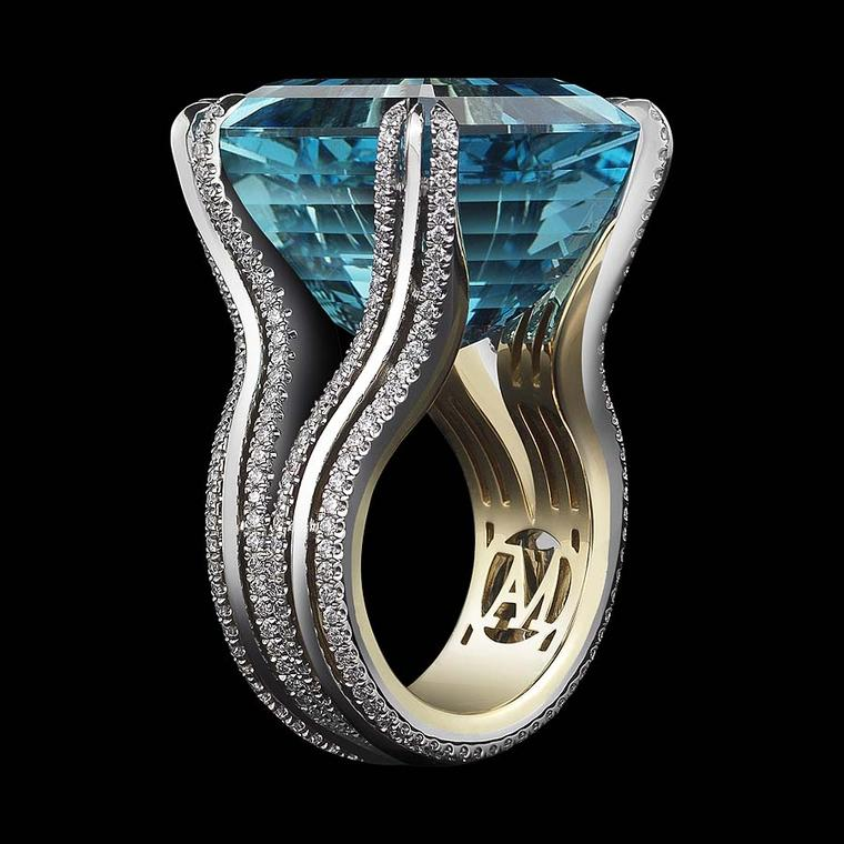 The Ode to Enchanted Light aquamarine ring from Alexandra Mor is set with an extraordinary 27.24ct Asscher-cut intense bright blue-green aquamarine.