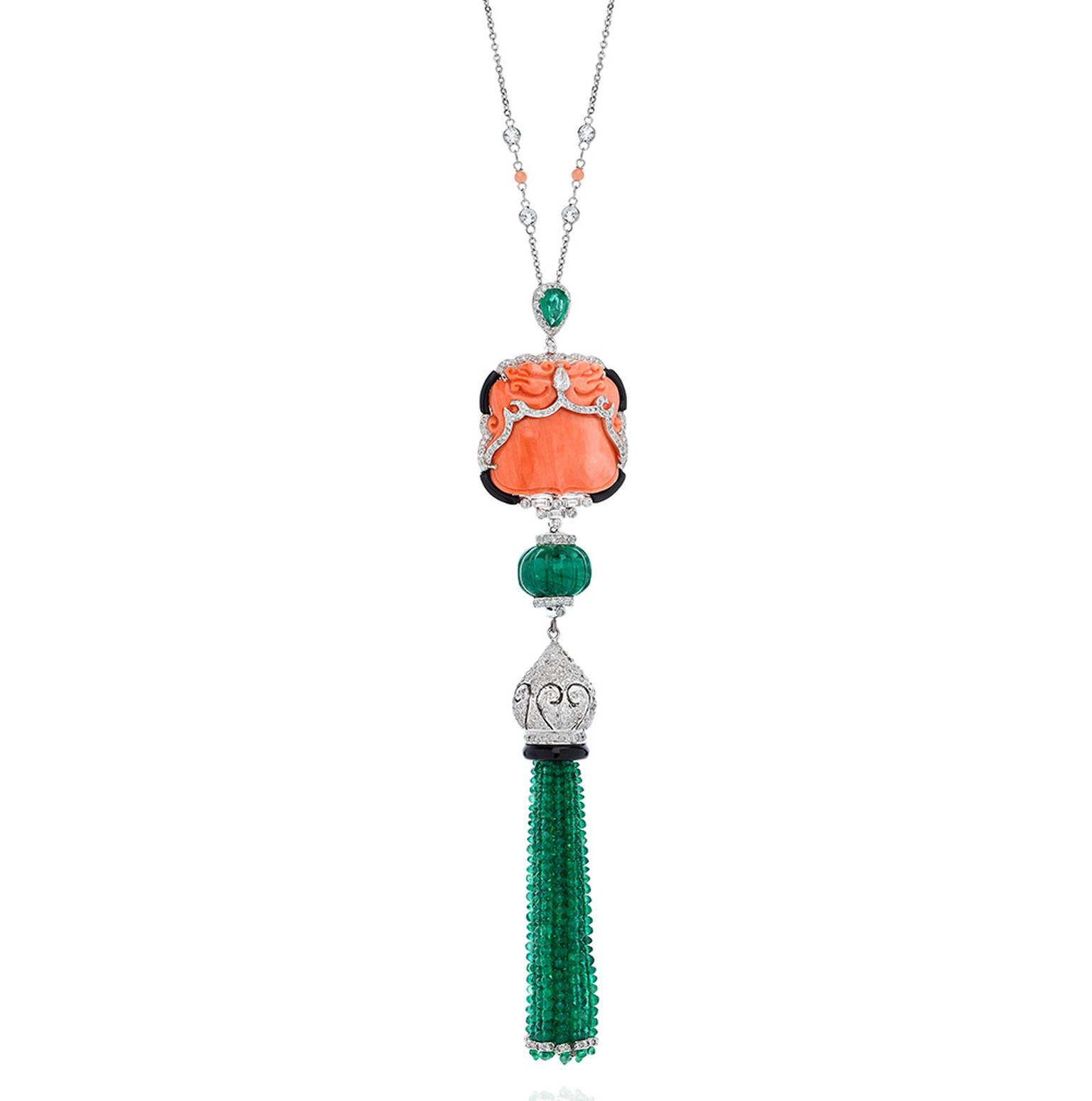 White gold, emerald, coral and diamond tassel necklace by Nigaam at Talisman Gallery, Harvey Nichols, London