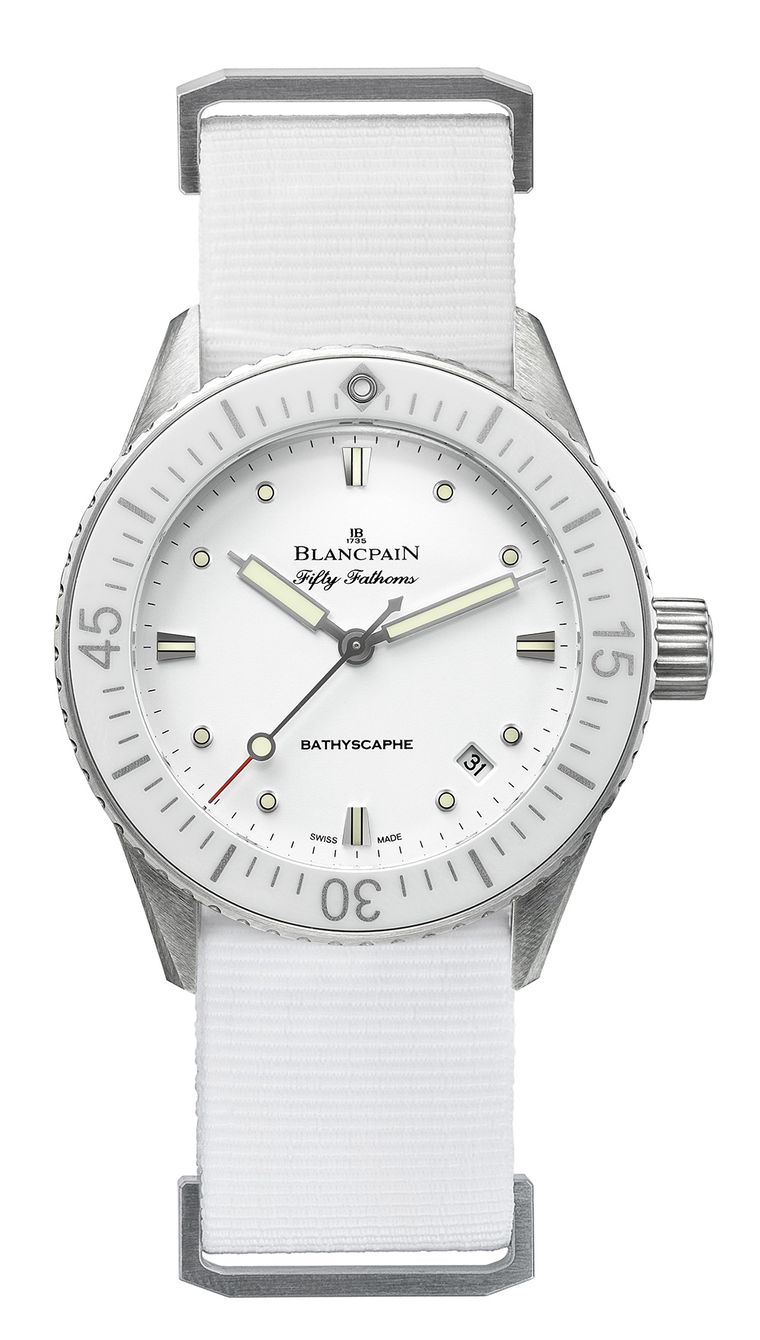 Blancpain's all-white Fifty Fathoms Bathyscaphe dive watch.