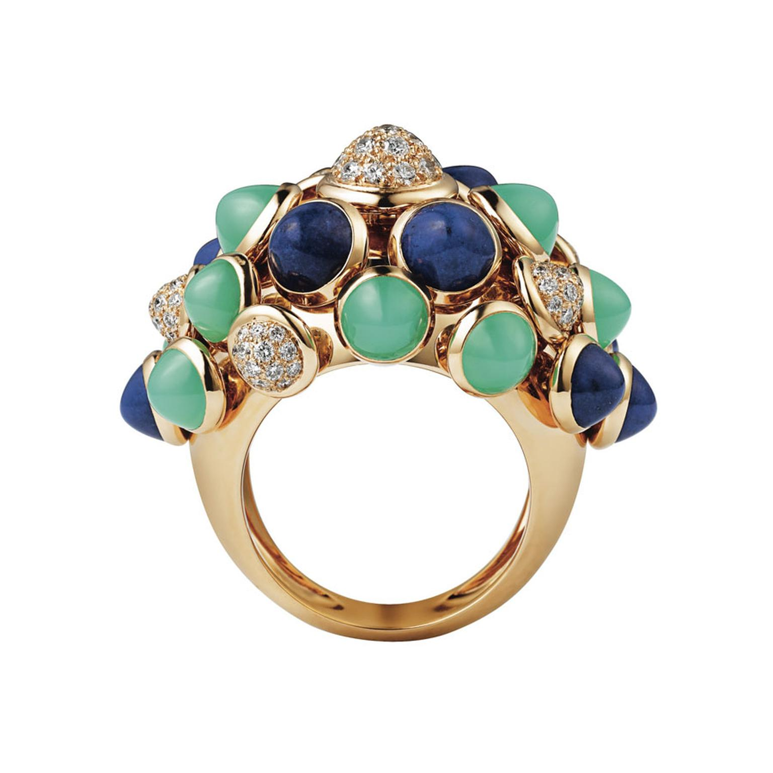 Cartier Paris Nouvelle Vague 'Mischievous' ring in yellow gold, set with lapis lazuli, chrysoprase and diamonds.