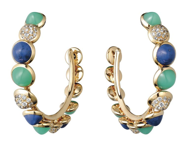 Cartier Paris Nouvelle Vague 'Mischievous' earrings in yellow gold, set with lapis lazuli, chrysoprase and diamonds.