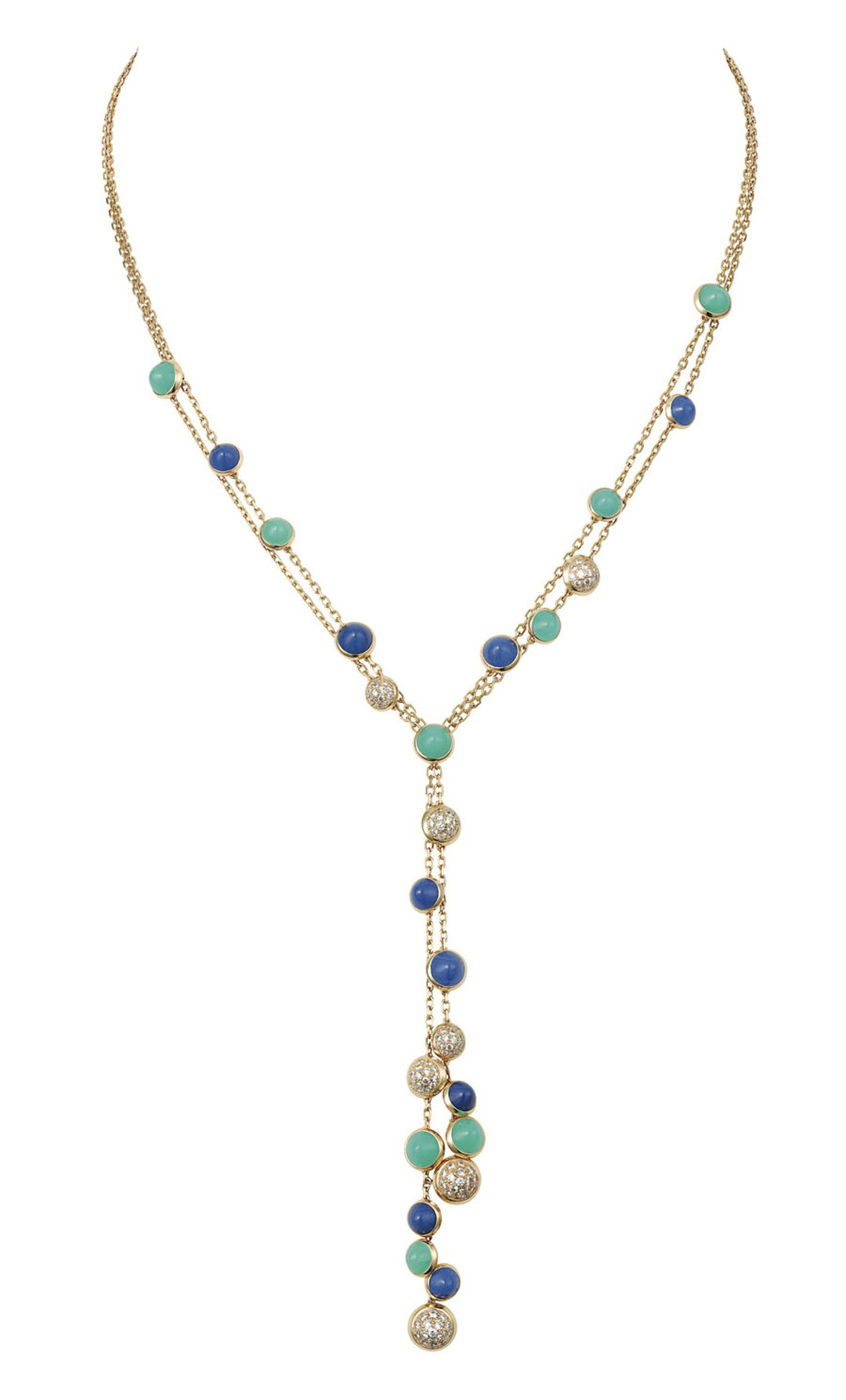 Cartier Paris Nouvelle Vague 'Mischievous' necklace in yellow gold, set with lapis lazuli, chrysoprase and diamonds.