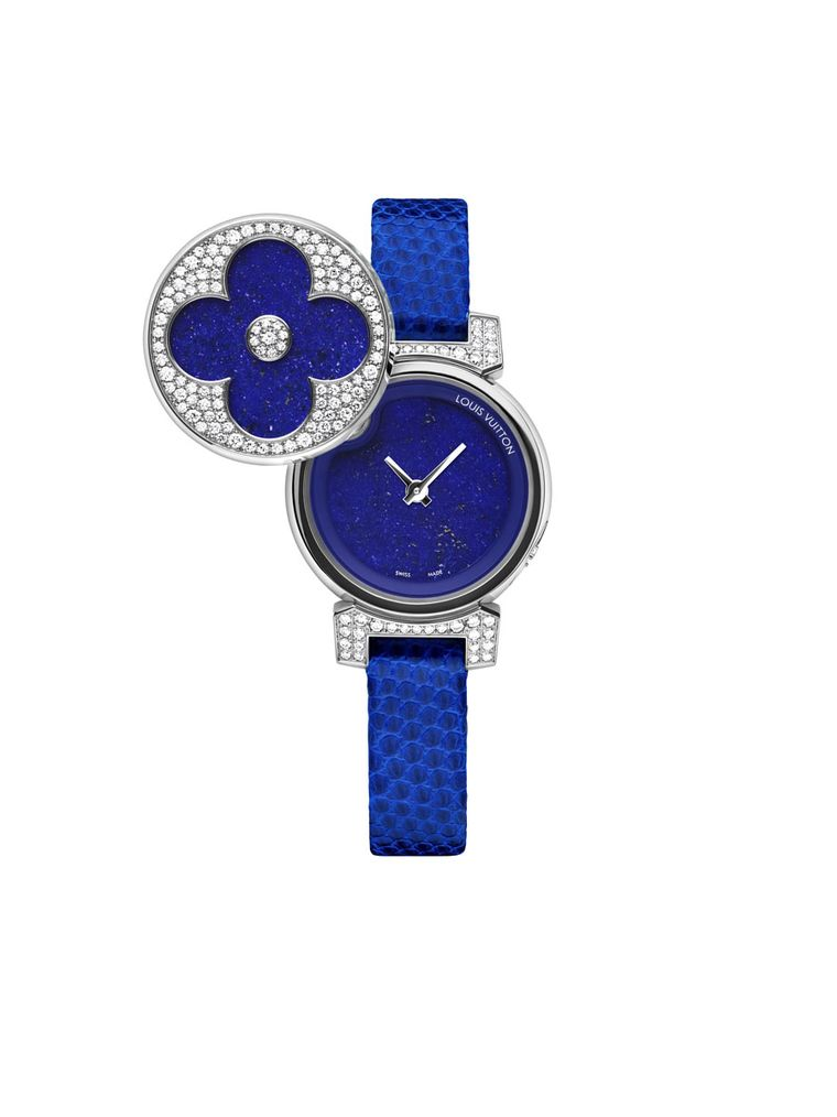 Louis Vuitton's Tambour Bijou Secret watch in electric blue with a lizard strap, lapis lazuli face and diamonds, all set in white gold.