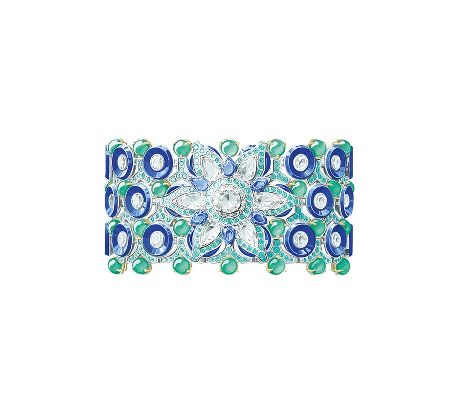 Van Cleef & Arpels Geometric Flower bracelet from the Pierres de Caractere Variations collection with pear-shaped sapphires, lapis lazuli, chrysoprase beads, Paraiba-like tourmalines and round diamonds set in white and yellow gold.