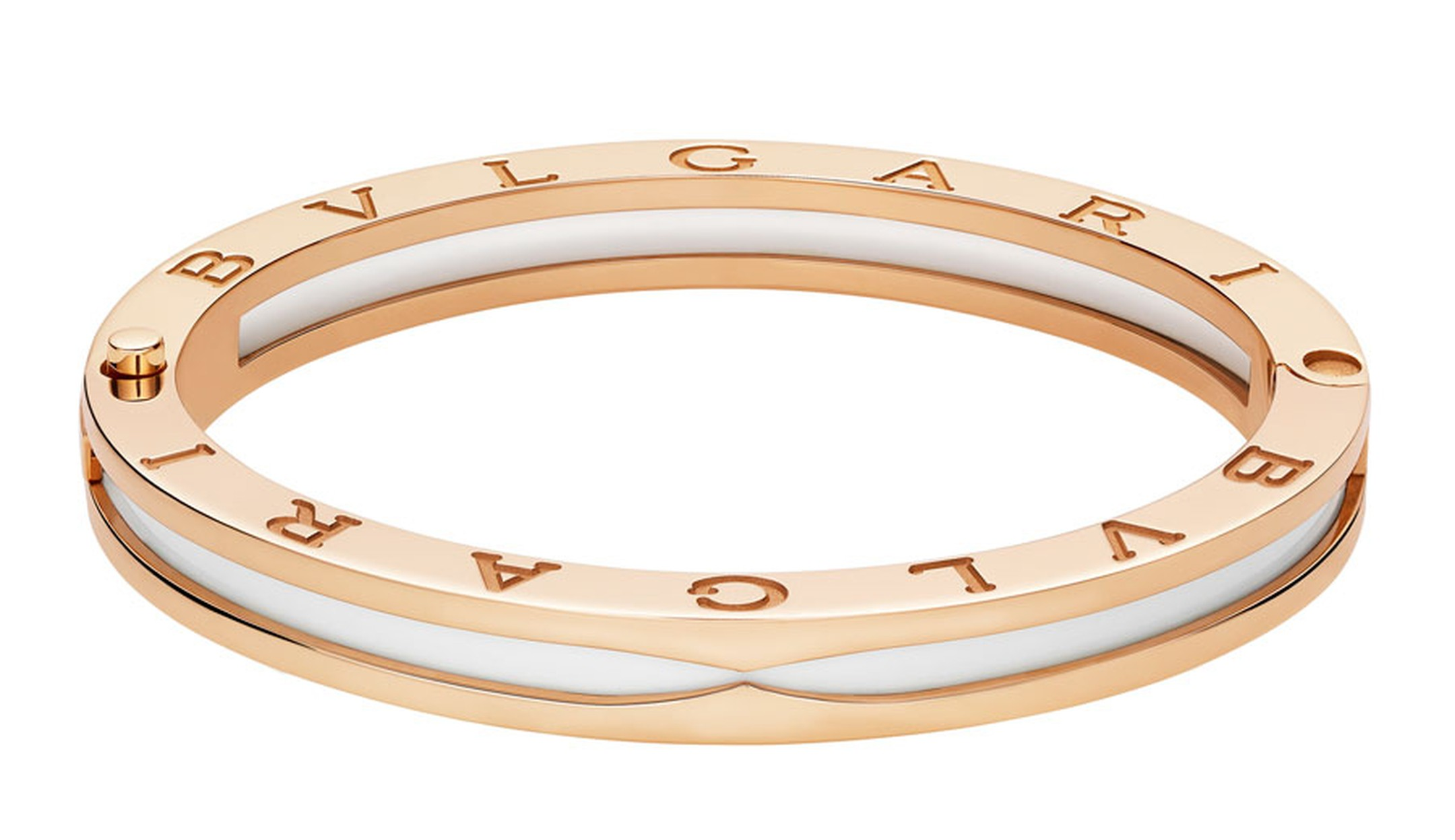 Bulgari B.zero1 pink gold and white ceramic bangle bracelet _ 4.150 GBP