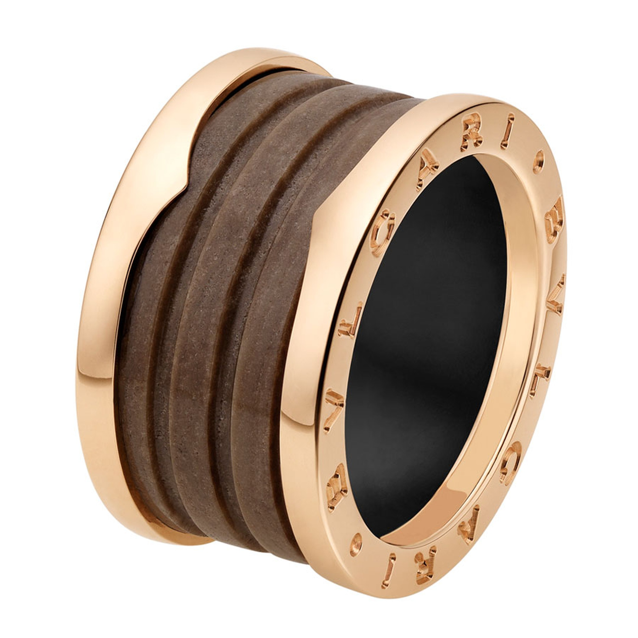 Bulgari Bzero1 pink gold and brown marble 4-band ring _ 790 GBP