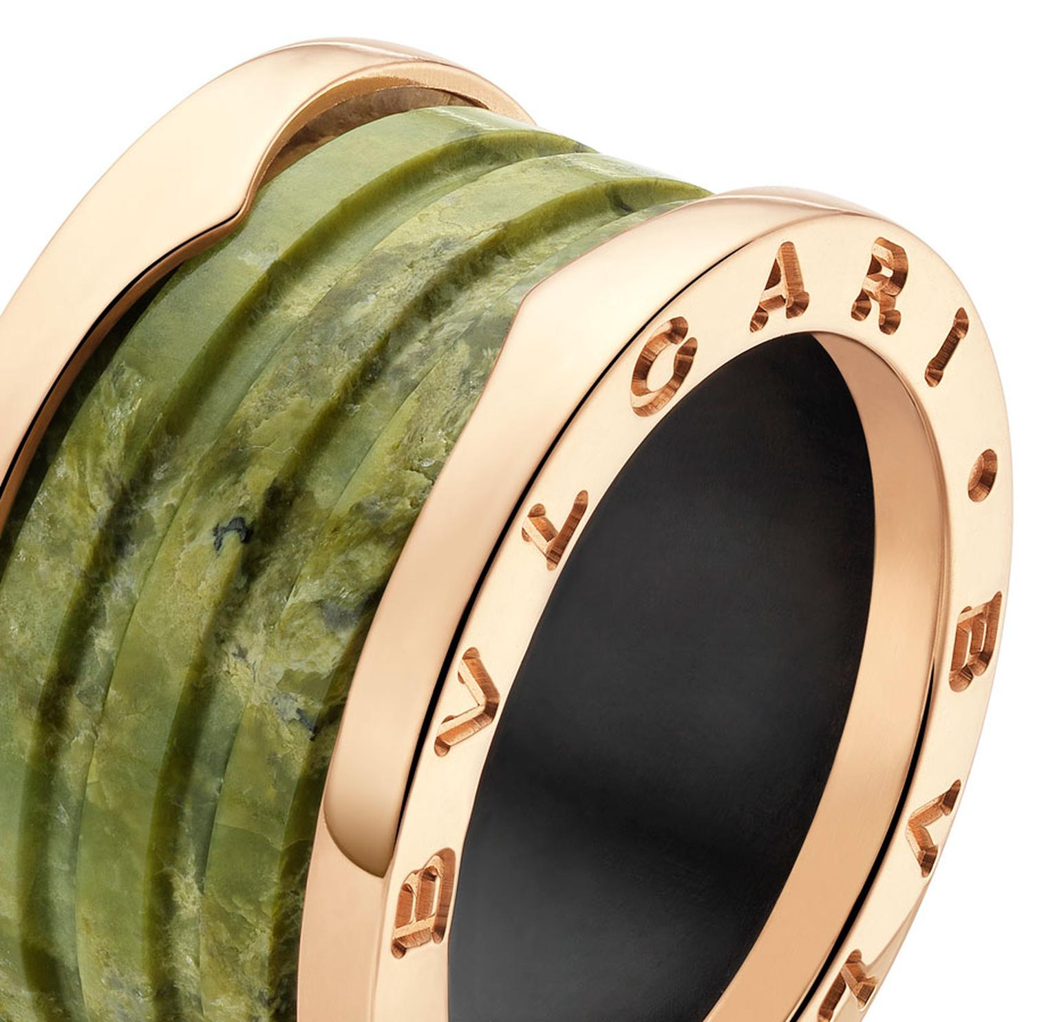Bulgari Bzero1 pink gold and green marble 4-band ring _ 790 GBP. MAIN PIC